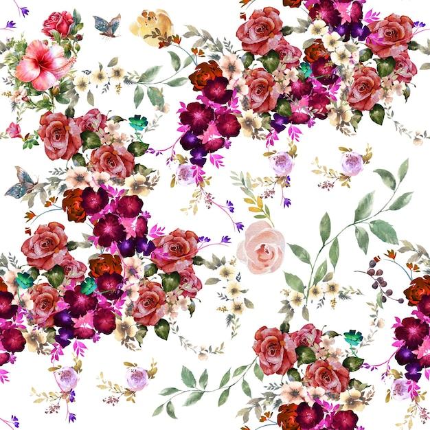 Liść I Kwiaty Akwarela Bezszwowe Wzór Premium Zdjęcia