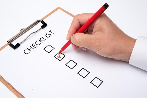 Lista Kontrolna Na Białym Papierze. Premium Zdjęcia
