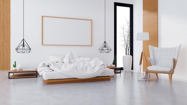 Loft nowoczesne wnętrze sypialni i przytulny styl Premium Zdjęcia