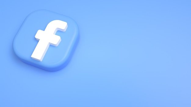 Logo Facebook Minimalne Tło 3d Premium Zdjęcia