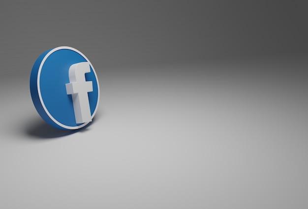 Logo Facebooka W Kolorze Białym I Niebieskim Na Białym Tle W Tle, Wszystko W 3d. Premium Zdjęcia