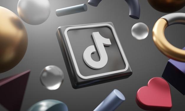 Logo Tiktok Wokół Renderowania 3d Abstrakcyjny Kształt Tła Premium Zdjęcia
