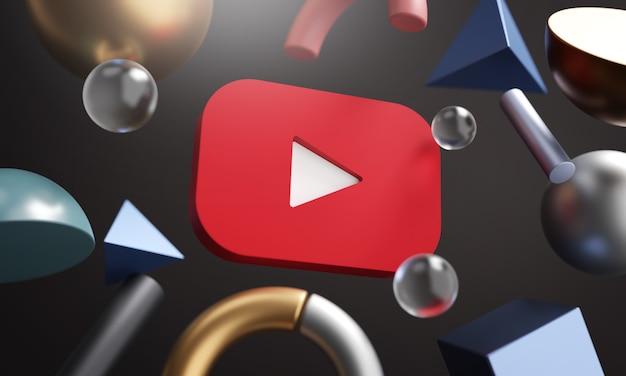 Logo Youtube Wokół Renderowania 3d Abstrakcyjny Kształt Tła Premium Zdjęcia