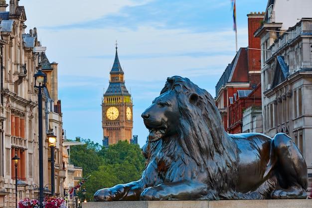 Londyn trafalgar square lew i big ben Premium Zdjęcia