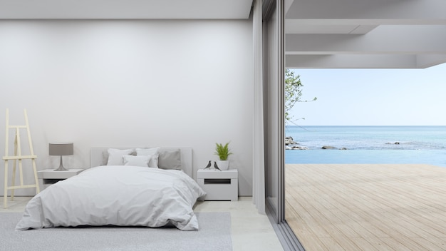 Łóżko Na Beżowej Marmurowej Podłodze Jasnej Sypialni Premium Zdjęcia