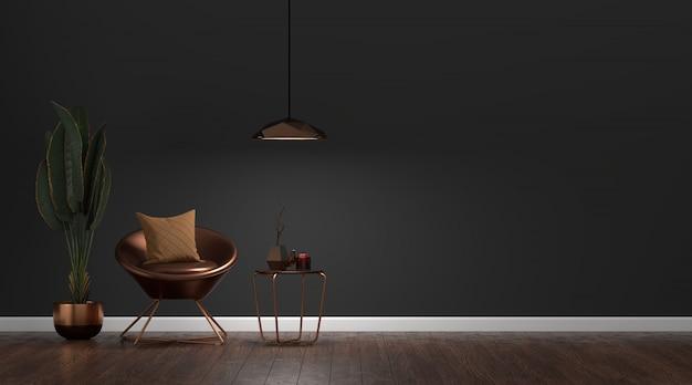 Luksusowe Nowoczesne Ciemne Wnętrze Salonu Premium Zdjęcia
