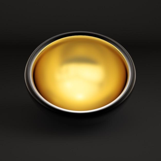 Luksusowe Opakowanie Na Prezent świąteczny. Pudełko Jest Złote Wewnątrz I Ciemne Na Zewnątrz. Ilustracja, Renderowanie 3d. Premium Zdjęcia