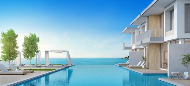 Luksusowy Dom Na Plaży Z Basenem I Tarasem Z Widokiem Na Morze W Nowoczesnym Stylu. Premium Zdjęcia