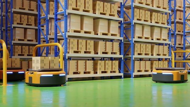 Magazyn W Centrum Logistycznym Z Zautomatyzowanym Pojazdem Kierowanym Jest Pojazdem Dostawczym. Darmowe Zdjęcia