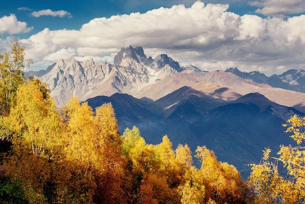 Magiczny Jesienny Krajobraz I Ośnieżone Szczyty Górskie. Widok T Premium Zdjęcia