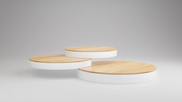 Makieta Drewniane Podium Wyświetlaj Warstwy Stosu Do Prezentacji Produktów Na Białym Tle, Minimalistyczna Scena, Renderowanie 3d. Premium Zdjęcia