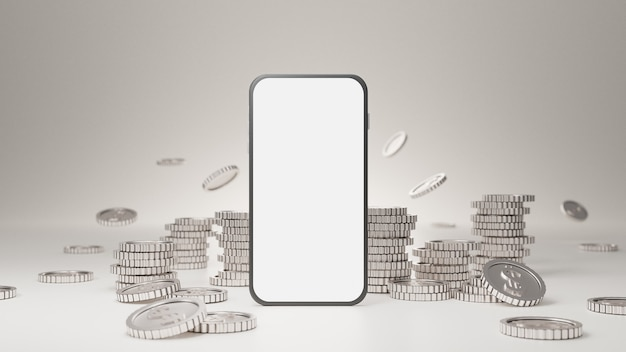 Makieta Mobilna Z Białym Ekranem Ze Stosem Srebrnych Monet Na Białym Tle. Premium Zdjęcia
