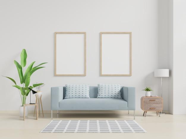 Makieta plakat wnętrz z pionowej pustej drewnianej ramie stojącej na drewnianej podłodze z sofą i szafką. Premium Zdjęcia