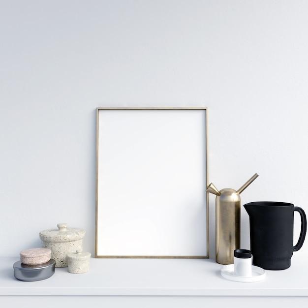 Makieta Plakat Z Pięknymi Dekoracjami Premium Zdjęcia