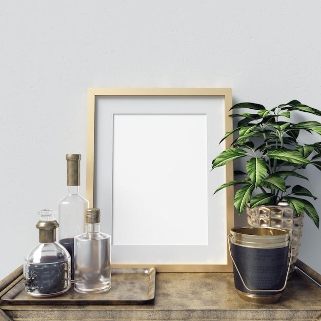 Makieta Plakatowa Z Dekoracją Butelek I Roślinami Premium Zdjęcia