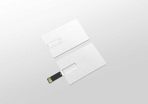 Makieta Pustej Białej Plastikowej Karty Usb Waflowej Leżącej, Otwartej I Zamkniętej Premium Zdjęcia