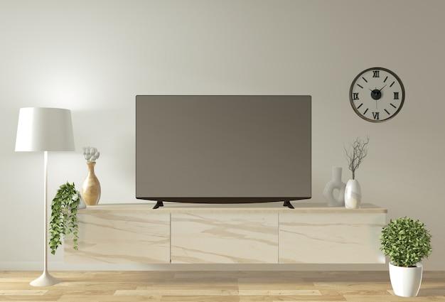 Makieta szafki i wyświetlacza telewizyjnego o minimalistycznym wystroju i stylu japońskim Premium Zdjęcia