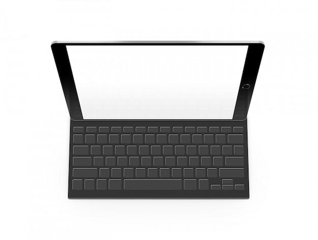 Makieta tablet pusty ekran z klawiaturą na białym tle Premium Zdjęcia