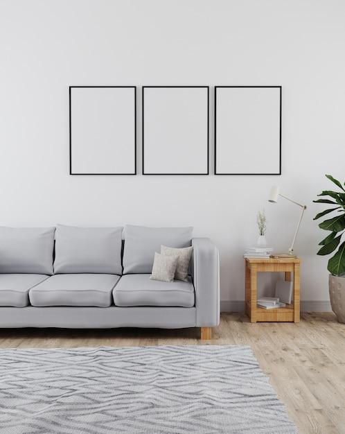 Makieta Trzech Ramek Plakatowych W Nowoczesnym I Minimalistycznym Wnętrzu Salonu Z Szarą Sofą I Białą ścianą Premium Zdjęcia
