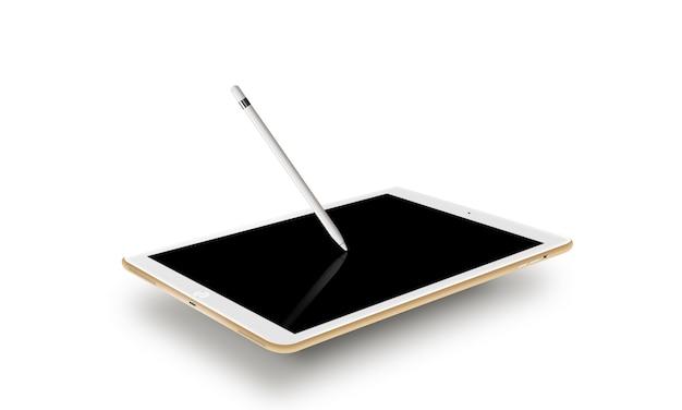 Makieta złoty tablet realistyczny styl z rysikiem. Premium Zdjęcia