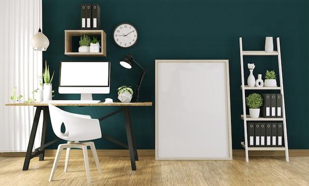 Makiety komputer z pustego ekranu i dekoracji w pokoju biurowym makiety tła. renderowania 3d Premium Zdjęcia