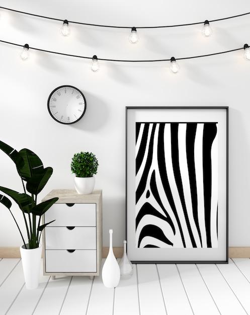 Makiety plakat szafka nowoczesne w białym salonie Premium Zdjęcia
