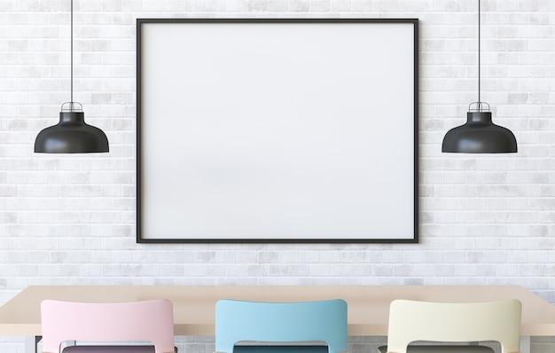 Makiety Plakat W Wnętrze Z Jadalnią. 3d Render Premium Zdjęcia