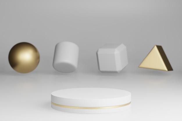 Makiety Studio Z Marmurowymi Cylindrycznymi Kształtami, Podium, Platformy Do Prezentacji Produktu, Ze Złotą Ozdobą Obiektu Na Szarym Tle. Renderowania 3d Premium Zdjęcia