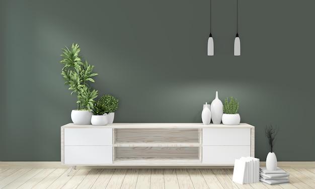 Makiety szafka plakatowa drewniana na zielonym pokoju żyjącym japońskim stylu Premium Zdjęcia