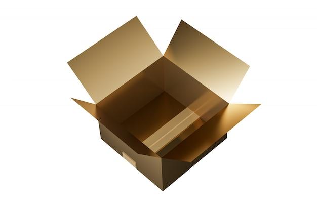 Makiety Złotego Kartonu. Pojedynczo Na Białym Tle. Makiety Zdjęć Opakowań. Renderowanie 3d Premium Zdjęcia