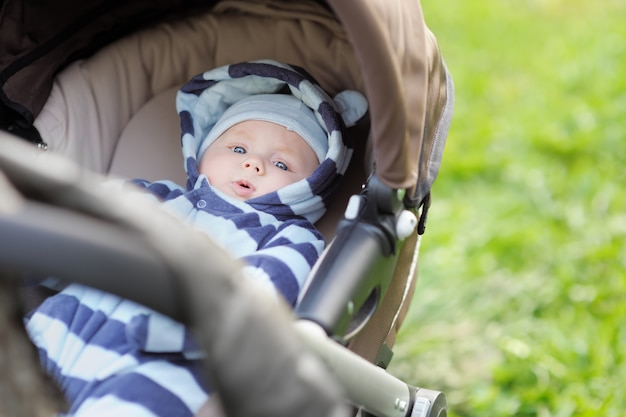 Mała Chłopiec W Spacerowiczu Outdoors Premium Zdjęcia