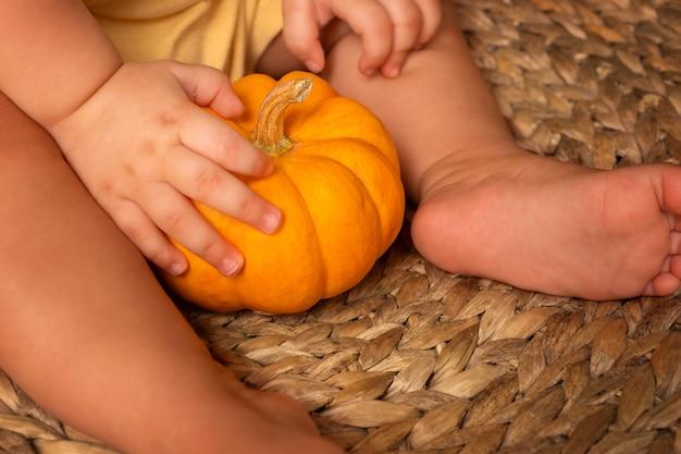 Mała Dynia W Rękach Dziecka. Dziecko Trzyma Dynię Na Słomianym Krześle Premium Zdjęcia