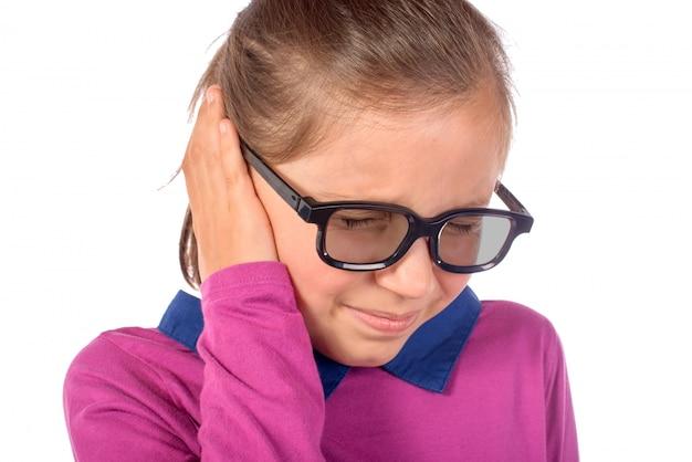 Mała Dziewczynka Ból Ucha Premium Zdjęcia