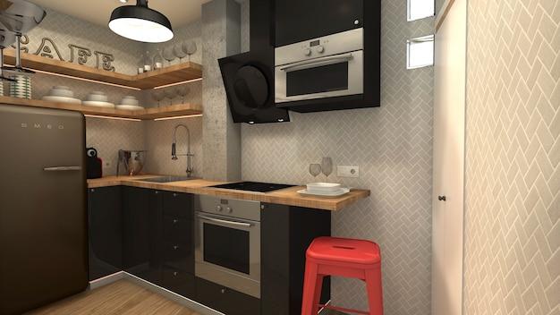 Mała Kuchnia W Stylu Industrialnym Premium Zdjęcia