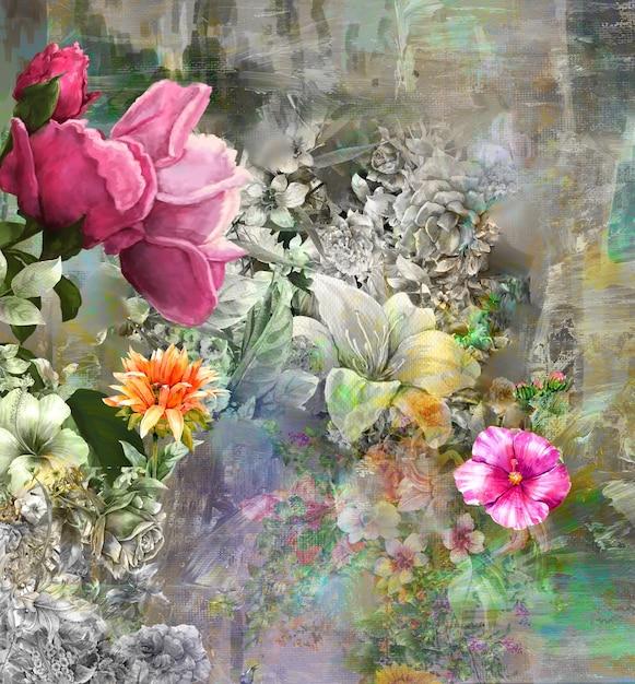 Malarstwo Abstrakcyjne Kolorowe Kwiaty. Ilustracja Wielobarwny Wiosna Premium Zdjęcia