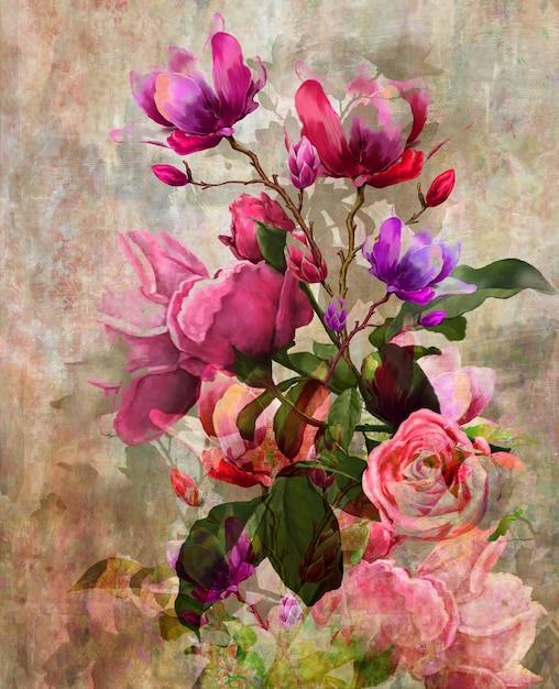 Malarstwo Abstrakcyjne Kolorowe Kwiaty. Premium Zdjęcia