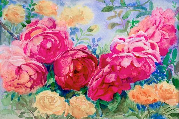 Malarstwo Akwarela Kwiaty Krajobraz Różowy żółty Kolor Róż. Premium Zdjęcia