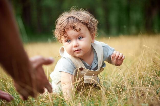 Małe Dziecko Lub Roczek Dziecka Na Trawie W Słoneczny Letni Dzień Darmowe Zdjęcia