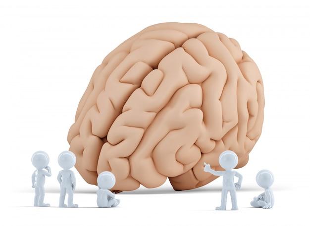 Mali Ludzie Lubią Gigantyczny Mózg. Odosobniony. Zawiera ścieżkę Przycinającą Premium Zdjęcia