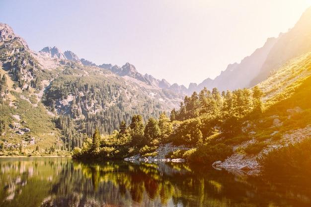 Malownicze górskie jezioro i zielony las. wysokie skały. piękny krajobraz. Premium Zdjęcia