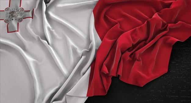 Malta Flaga Zmarszczki Na Ciemnym Tle Renderowania 3d Darmowe Zdjęcia