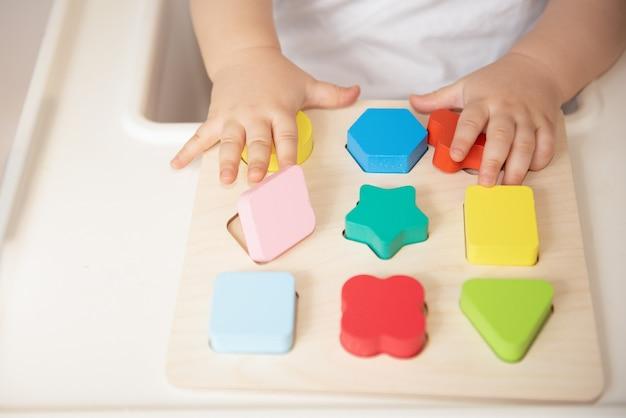Maluch Układa I Sortuje Zabawki Według Koloru I Kształtu Geometrycznego. Drewniane Zabawki Edukacyjne I Rozwojowe. Gry Montessori Premium Zdjęcia