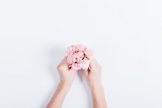 Mały Bukiet Różowych Goździków W Rękach Kobiet Premium Zdjęcia