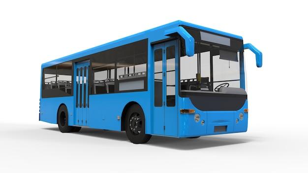 Mały Miejski Niebieski Autobus Na Białym Tle Premium Zdjęcia