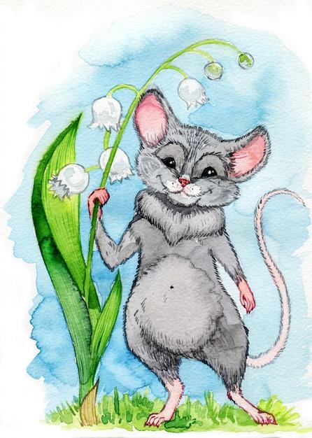 Mały Niebieski Szczur Z Dużymi Uszami Dumbo Trzyma Kwiat Konwalii Premium Zdjęcia