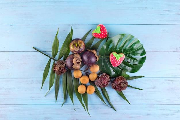 Mangostan, Lichi I Rambutan Premium Zdjęcia