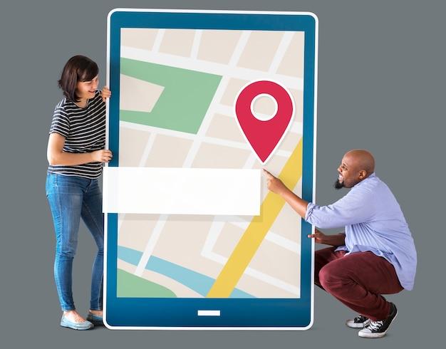 Mapa Nawigacji Gps Na Urządzeniu Cyfrowym Premium Zdjęcia