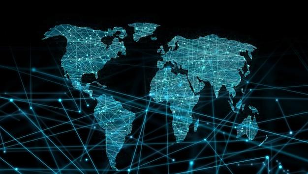 Mapa świata Linków Linią Przerywaną Premium Zdjęcia