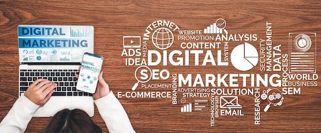 Marketing koncepcji biznesowej technologii cyfrowej Premium Zdjęcia
