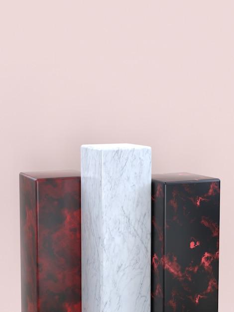 Marmurowa Tekstura Geometryczny Kształt Ustawiony Puste Podium / Półka Renderowania 3d Premium Zdjęcia